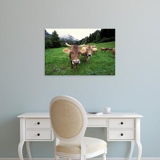 Easy Art Prints Gavriel Jecan's 'Swiss Brown Cows' Premium Canvas Art