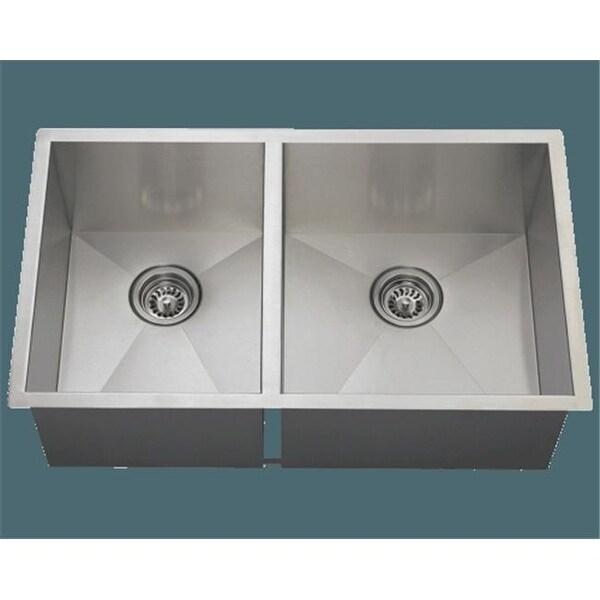 Shop Polaris Por2233 Double Rectangular Stainless Steel Kitchen Sink