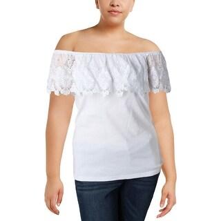 Lauren Ralph Lauren Womens Plus Blouse Lace Trim Off-The-Shoulder