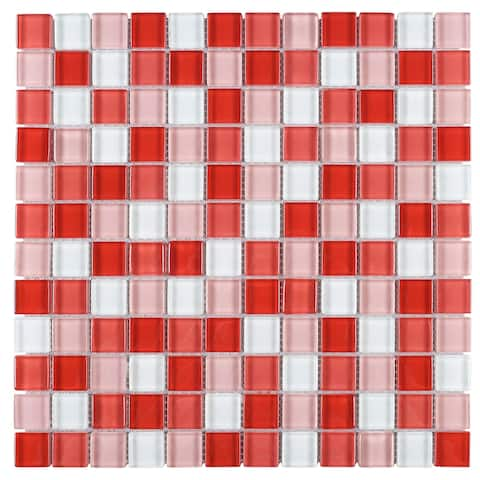 "TileGen. Grid 1"" x 1"" Glass Mosaic Tile in Red/Pink Wall Tile (10 sheets/9.6sqft.)"