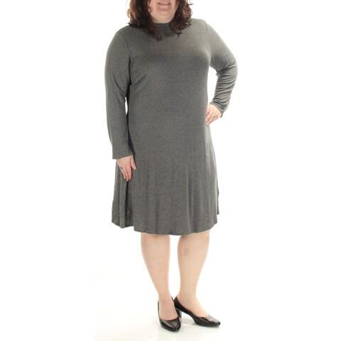 Womens Gray Long Sleeve Knee Length Shift Casual Dress Size: 2X