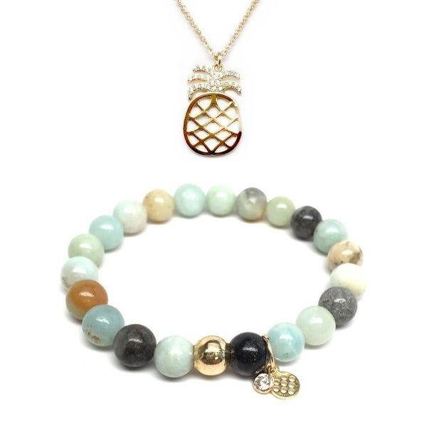 "Green Amazonite 7"" Bracelet & CZ Pineapple Gold Charm Necklace Set"