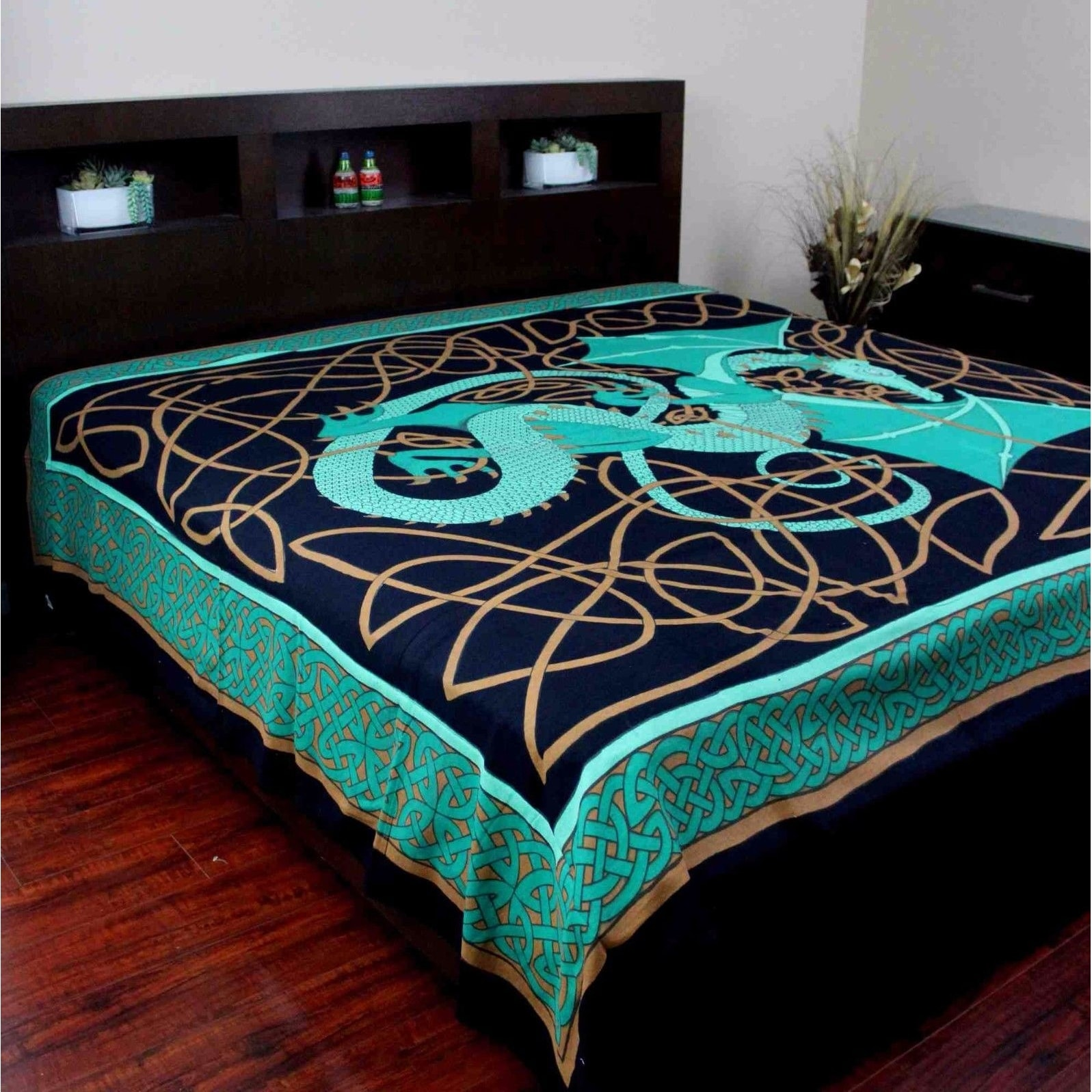 Handmade 100% Cotton Celtic Dragon Tapestry Tablecloth Bedspread Dorm Decor Beach Sheet in Brown Red Green & Blue in Twin & Full - Thumbnail 1