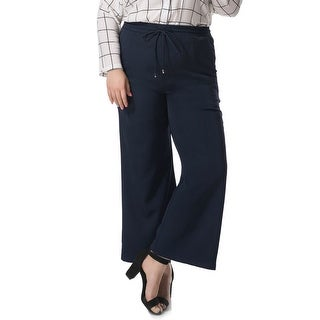 Allegra K Women's Plus Size Wide Leg Elastic Drawstring Pants - Blue