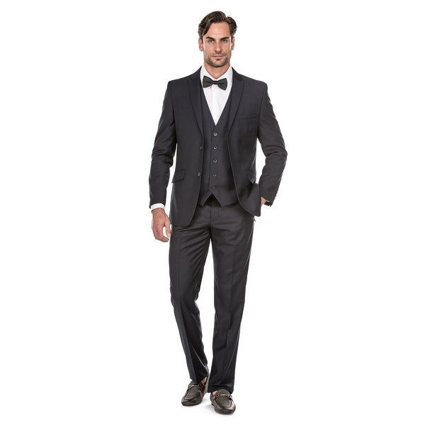 Porto Filo 3 Pcs Navy Blue Slim-Fit Men's Suit (Jacket+ Pant+Vest) - Navy Blue