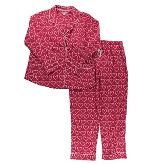 DKNY Womens Two-Piece Pajamas Contrast Trim Heart Print - XL