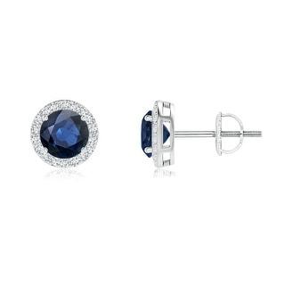 Angara Vintage Inspired Round Blue Sapphire Halo Stud Earrings