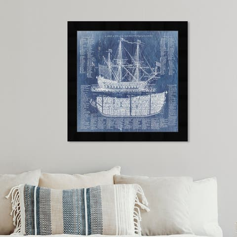 Oliver Gal 'Ship Vocabulary and Terms' Nautical and Coastal Framed Wall Art Prints Nautical Watercrafts - Blue, White