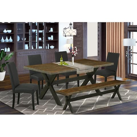 X677DR124-5 5-Pc Dining Table Set- 4 Dining Chairs with Black Linen Fabric , Distressed Jacobean and Black Finish