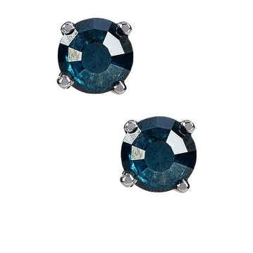 1cts Genuine Blue Diamond and Sterling Silver Studs Push Back