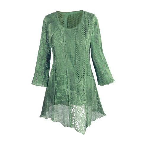 Women's Tunic Top - Lacey Layers Asymmetrical Cotton Blouse