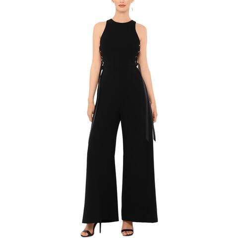 Xscape Womens Jumpsuit Wide Leg Crepe - Black