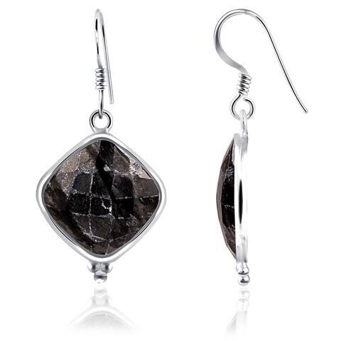 Picasso Jasper Sterling Silver Cushion Dangle Earrings by Essence Jewelry