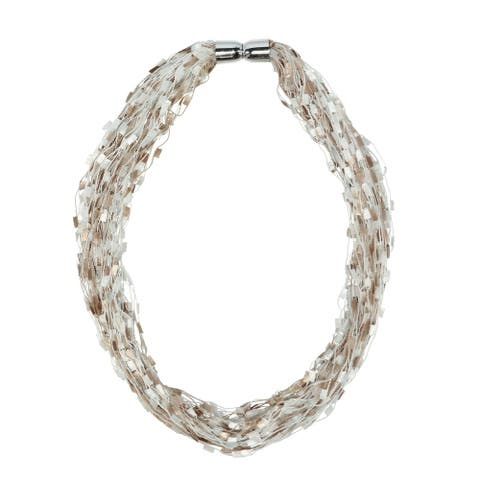 CTM® Women's Multi-Neutral Color Layered Scarf Necklace with Magnetic Closure - one size