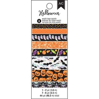 American Crafts Halloween Washi Tape 8/Pkg-W/Holographic, Glitter & Foil Accents