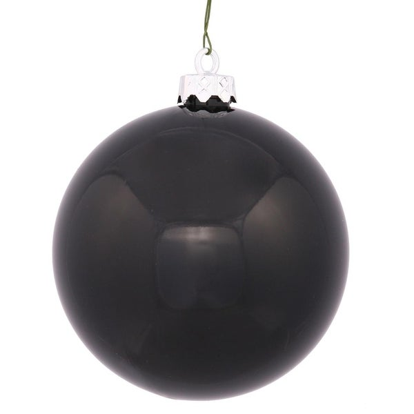 "Shiny Black UV Resistant Commercial Drilled Shatterproof Christmas Ball Ornament 2.75"" (70mm)"