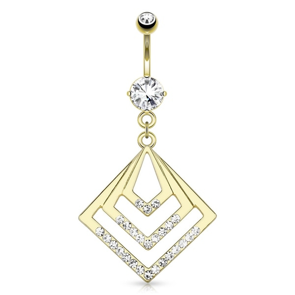 Geometric Overlapped Squares With Gemmed Corner Dangle gold-plated Navel Belly Button Ring
