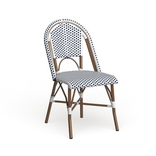 "Safavieh Dining Rural Woven Salcha Blue/ White Indoor/ Outdoor Stackable Dining Chairs (Set of 2) - 18""x21.6""x34.6"""