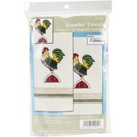 """Tobin Stamped For Embroidery Kitchen Towels 18""""X28"""" 2/Pkg-Rooster"""