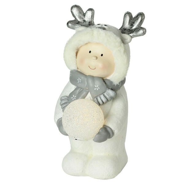 """15.75"""" Smiling Child in White Snow Suit Holding LED Lighted Snowball Christmas - silver"""