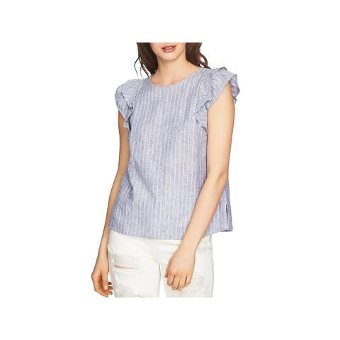 1.State Womens Pullover Top Striped Ruffled