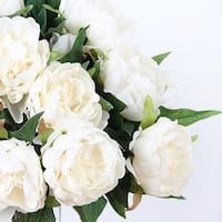 """G Home Collection Luxury Silk Peony Stem in White 20"""" Tall"""