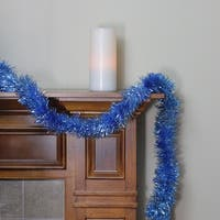 50' Traditional Shiny Blue Tinsel Garland - Unlit