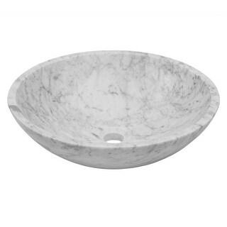 "Miseno MNO-WC Circular 17"" Carrera Marble Vessel Bathroom Sink"