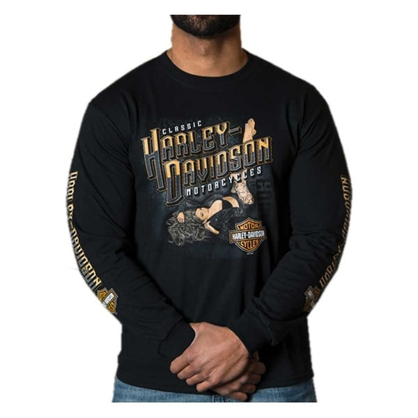 Harley-Davidson Men's Kickback Pin-Up Crew-Neck Long Sleeve Shirt - Black