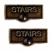 2 Switch Plate Tags STAIRS Name Signs Labels Cast Brass