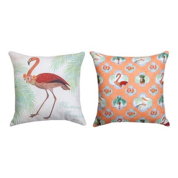 "Indoor/Outdoor Flamingo Throw Pillow - Weather Resistant - 18"" X 18"" Square"