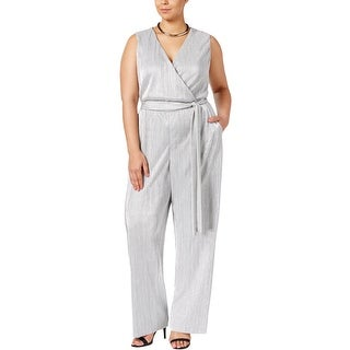 NY Collection Womens Plus Jumpsuit Surplice Sleeveless - 3x