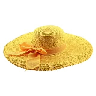 Woman Party Travel Wide Floppy Brimmed Summer Beach Straw Cap Sun Hat Yellow