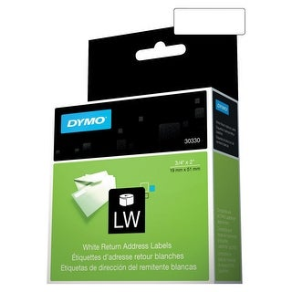 Dymo LabelWriter 400 Turbo Paper Rectangle Permanent Self-Adhesive Return Address Label, 3/4 X 2 in, White, Pack of 500