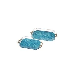 Set of Two Ocean Lovers Aqua Blue Acrylic Decorative Trays 24