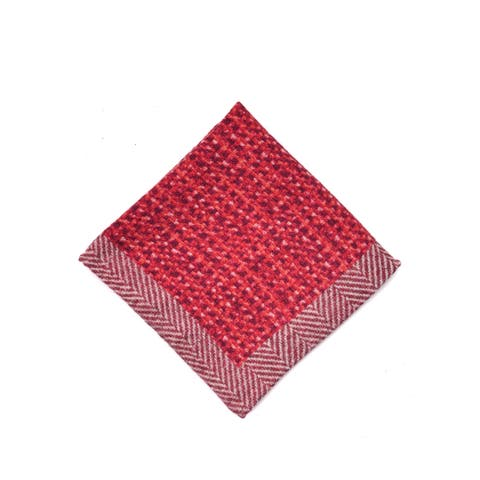 Brunello Cucinelli Mens Wool Red Checkered Pocket Square One Size~Retail$225 - One Size