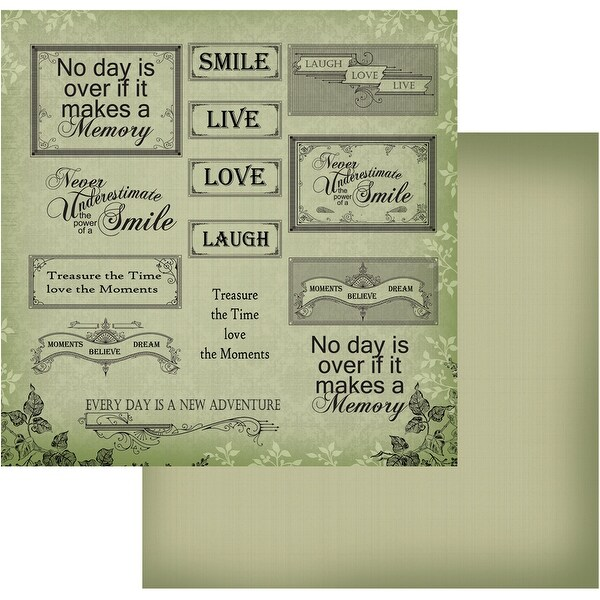 """Vintage Rose Garden Double-Sided Paper 12""""X12""""-Green Words"""