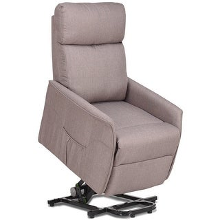 Costway Electric Power Lift Chair Recliner Sofa Fabric Padded Seat Living Room w/Remote - Light gray