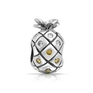 Bling Jewelry Cubic Zirconia Sterling Silver Pineapple Fruit Bead Charm