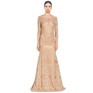 Jovani Fit & Flare Embroidered 3/4 Sleeve Long Evening Gown Dress