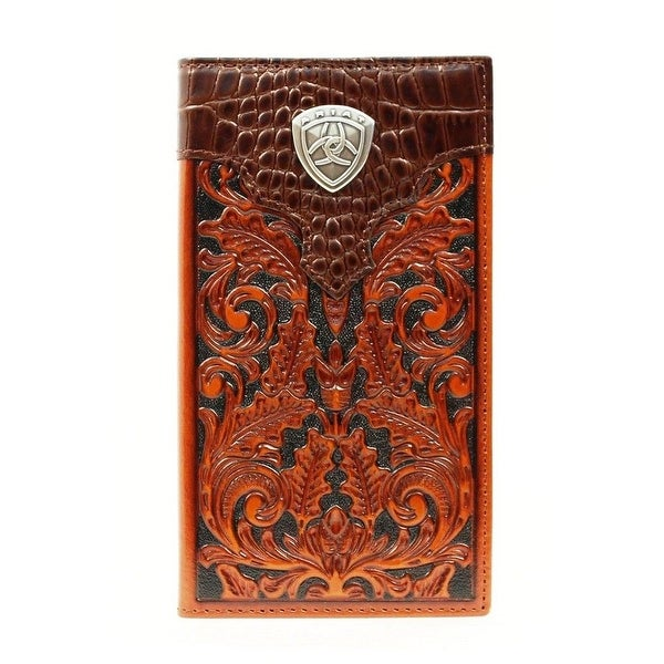 Ariat Western Wallet Men Rodeo Checkbook Faux Gator Print Tan - One size