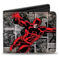Marvel Universe Daredevil Action Pose + Price Box Comic Panels Grays Red Bi Bi-Fold Wallet - One Size Fits most