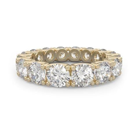 14K Yellow Gold 4.25 CT Round Cut Diamond Eternity Wedding Band