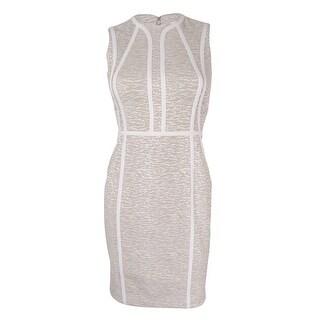 Calvin Klein Women's Sleeveless Sheath Dress (10P, Khaki/White) - khaki/white - 10P