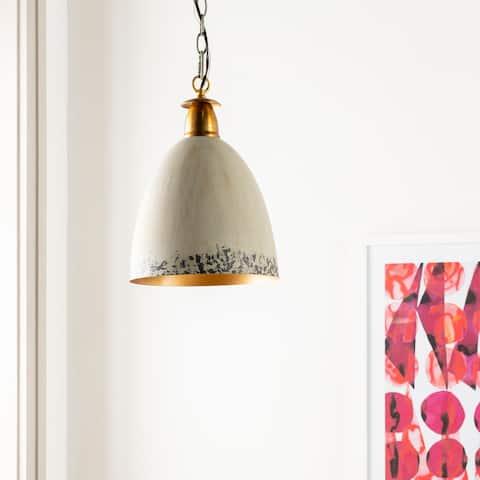 "Geoff Grey Painted Metal Hanging Pendant - 11.75""H x 11.75""W x 17.25""D"