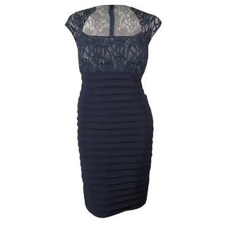 Xscape Women's Sequined Lace Shutter Pleated Dress
