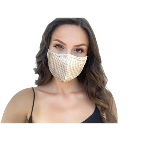 Khaki Plaid Check Pattern Women's Reusable Fashion Cloth Face Mask with Adjustable Straps - Multi-color
