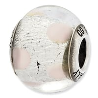 Italian Sterling Silver Reflections Silver & Light Pink Glass Bead