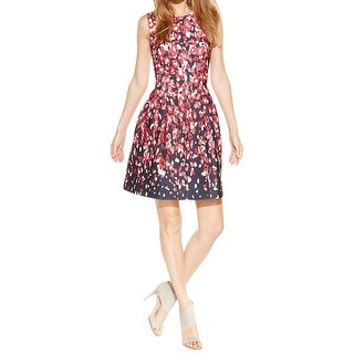 Calvin Klein Womens Petites Scuba Dress Printed Fit & Flare