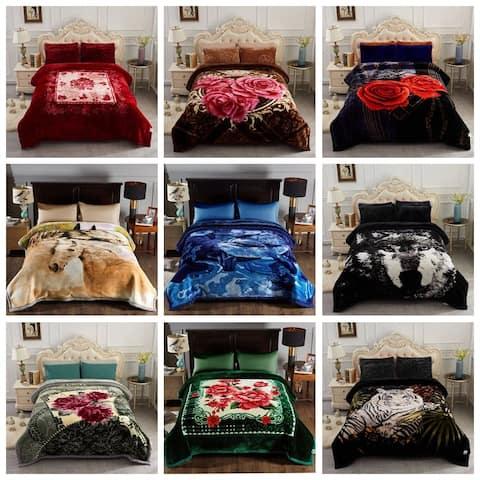 2 Ply Floral & Animal Heavy Raschel Blanket King Size
